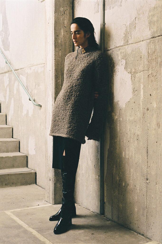 Modell från Stockholm fashion week. Hon bär kläder från Hope