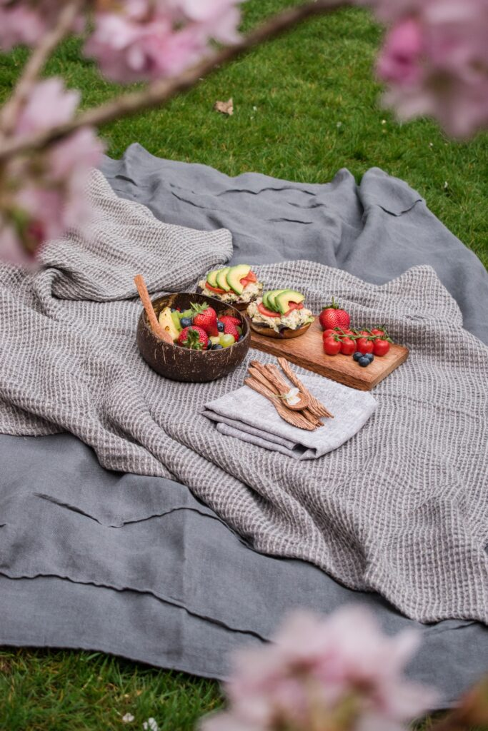 Picknick på filt. Sallad och avokadomackor