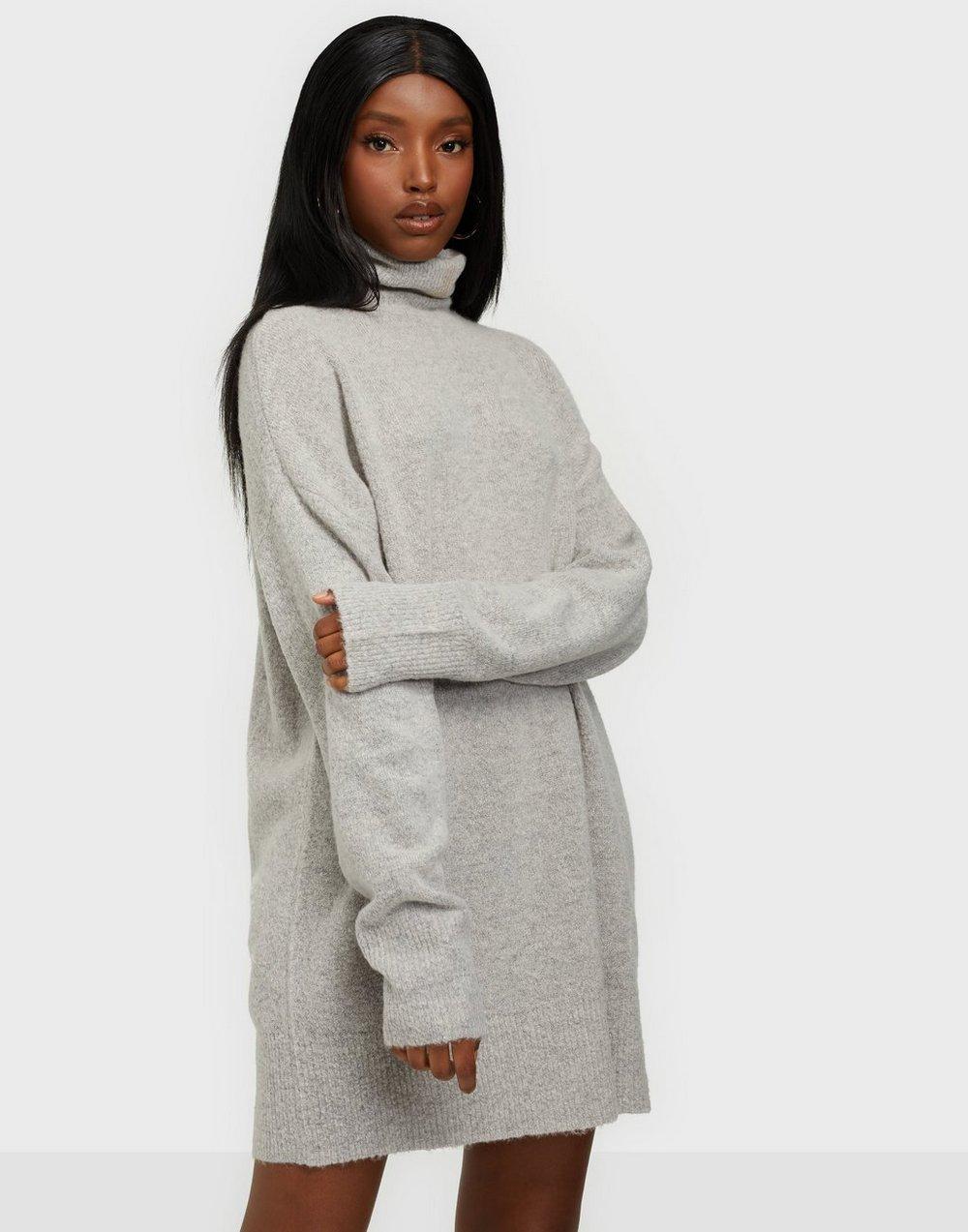 NLY Trend Long Roll Neck Sweater Tröjor Grey Melange