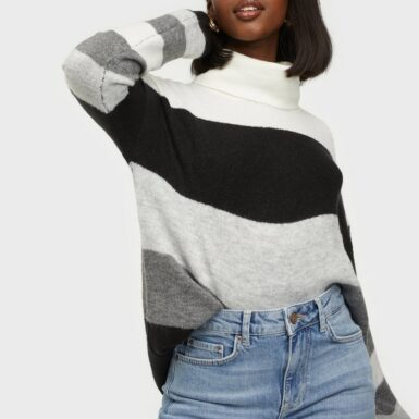 Jacqueline de Yong Jdyelanora L/S Stripe Rollneck Pul Stickade tröjor Dark Grey Melange