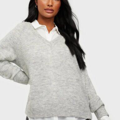 Selected Femme Slflulu Ls Knit V-Neck Noos Stickade tröjor Light Grey Melange