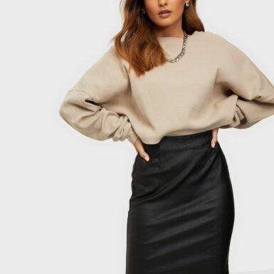 Vila Vicommit Rw Coated Skirt/L Midikjolar